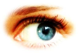 Ein großes Auge blickt nach links