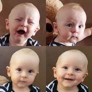 Ein Baby zeigt verschiedene Emotionsausdrücke